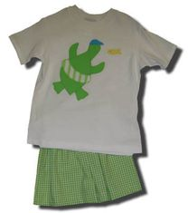 Funtasia Too Circle Around sea turtles short set with a sea turtle on the shirt and green checked shorts. A must have for your boy.