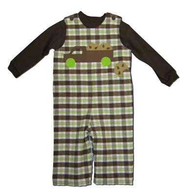 Funtasia Too Cookie Truck plaid longalls with a truck toting cookies and a matching brown turtleneck. Very comfortable and a cute outfit for your little cookie monster.