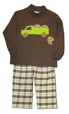 Funtasia Too Cookie Truck soft brown turtleneck with a truck toting cookies and matching plaid pants. Very comfortable and a cute outfit for your cookie monster.