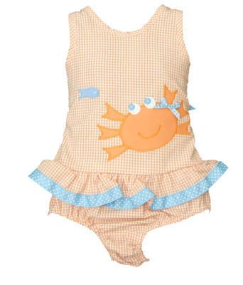Funtasia Too Crab Face orange and white checked seersucker one piece swimsuit with a crab and ruffles. Matches the boys, the coverup, and the towel.