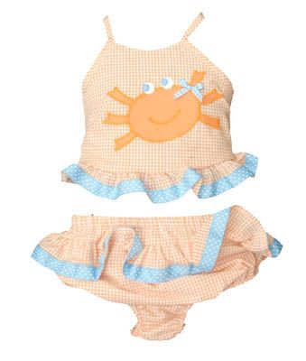 Funtasia Too Crab Face orange and white checked seersucker two piece swimsuit with a crab and ruffles. Matches the boys, the coverup, and the towel.