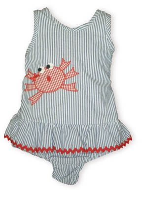 Funtasia Too Crab Shack blue and white pin stripe seersucker one piece swimsuit with an appliqued crab.