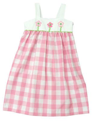 Funtasia Too Daisies and Daffodils pink and white dress with three flowers. Darling for your precious girl.