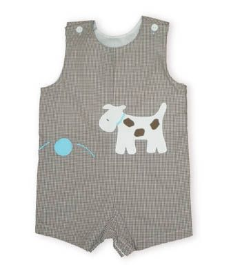 Funtasia Too Danny the playful dog brown and white checked shortall with a dog chasing a ball on it.