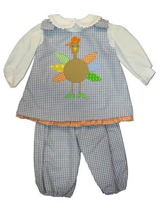 Funtasia Too Don`t Be a Turkey blue and white checked reversible popover set that has a turkey on the front. Says BOO on the reverse side. Festive and matches the boys.