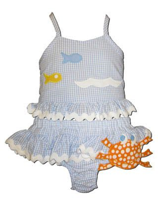 Funtasia Too Don't Be So Crabby Blue Seersucker two piece swimsuit with crab.