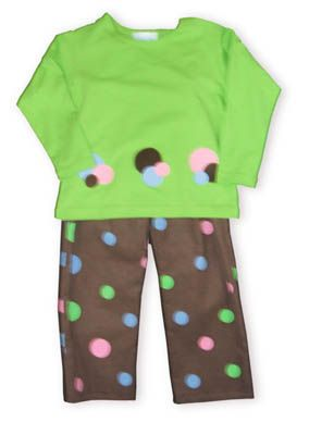 Funtasia Too Dots and More soft lime green shirt with dots on it and matching brown corduroy pants with dots on them.