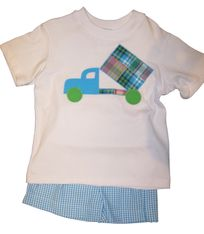 Funtasia Too Douglas the Dumptruck Short Set with applique and matching shorts. Soft cotton.