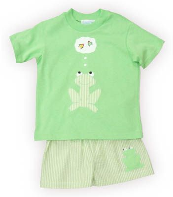 Funtasia Too Dragonfly Pond boy baby clothes green shirt with a frog on it and matching green and white seersucker swimtrunks. Super cute and comfortable. Matches the girls.