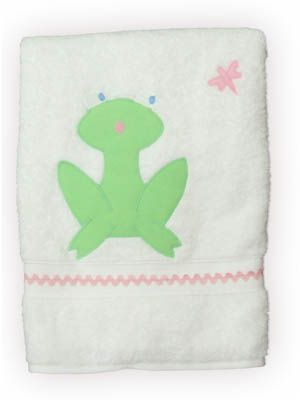 Funtasia Too Dragonfly Pond white towel with a dragonfly and frog. Matches the swimsuits.