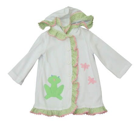 Funtasia Too Dragonfly Pond white velor coverup with two dragonflies, a frog, and some ruffle. Matches the swimsuits.