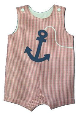 Funtasia Too Drop Your Anchor red checked shortall with an anchor on the front. Super comfortable and a classic style.