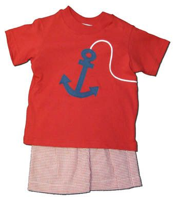 Funtasia Too Drop Your Anchor red short set with an anchor on the front. Very cute for your water lover.