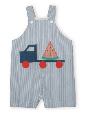 Funtasia Too Dump Trucks Extravaganza blue and white stripe shortall with an appliqued dump truck carrying a watermelon slice.
