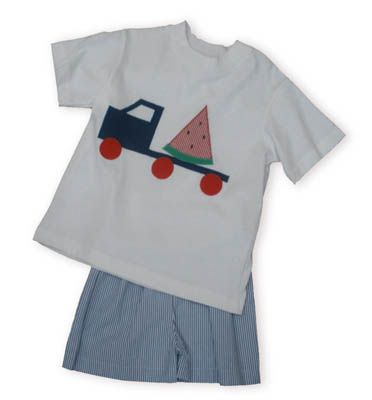 Funtasia Too Dump Trucks Extravaganza white shirt with a dump truck carrying a watermelon slice with matching blue and white check seersucker shorts.
