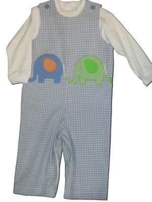 Funtasia Too Elephant Parade blue checked overalls with two elephants on the front and matching white turtleneck. Matches the girls and is a great item for your boy.