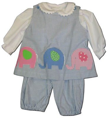 Funtasia Too Elephant Parade blue checked popover set with three elephants and a white blouse. Matches the boys and is a great item for your girl.