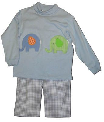 Funtasia Too Elephant Parade blue turtleneck with two elephants on the front. Comes with matching blue checked pants. Matches the girls and is a great item for your boy.