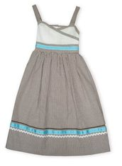 Funtasia Too Emily brown and white checked light sundress with ribbons and ric rac.