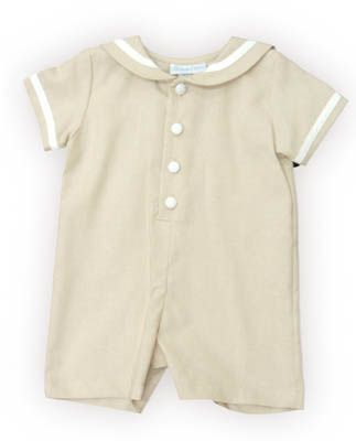 Funtasia Too Eye of the Wind boy baby clothes tan sailor romper with a sailor collar that buttons down the front. Classic and matches the girls.