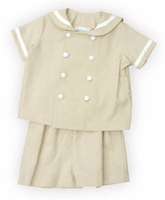 Funtasia Too Eye of the Wind boy baby clothes tan sailor suit with a sailor collar and it buttons down the front. Classic and matches the girls.