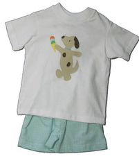 Funtasia Too Favorite Flavors cute short set with a dog and ice cream cone on the front and matching green checked seersucker shorts. So fun.