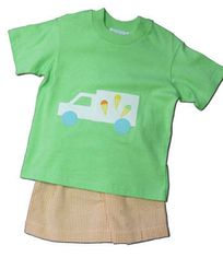 Funtasia Too Favorite Flavors ice cream truck short set with a green shirt and orange checked seersucker shorts. Comfy and fun.