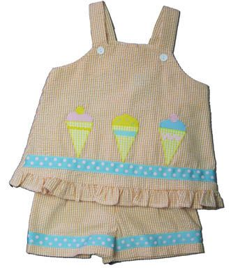 Funtasia Too Favorite Flavors orange checked seersucker swing top set with ice cream cones on the front. Comfy and cute.