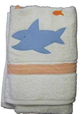 Funtasia Too Fins and Flutter cute towel with a shark on the front that matches the swimsuit. Super cute and a must have for your boy.