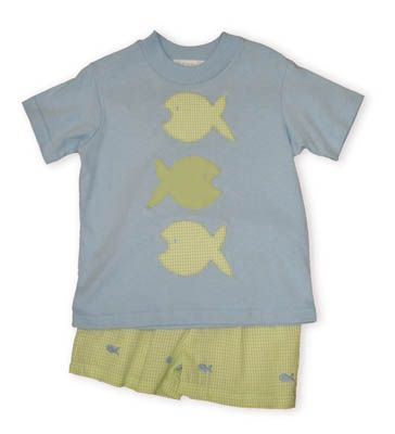 Funtasia Too Fish Face white shirt with three fish and matching lime and white striped seersucker swimtrunks with embroidered fish.