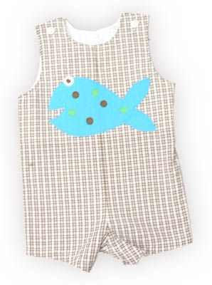 Funtasia Too Fish Freckles boy baby clothes brown and white checked shortall with a blue fish with many freckles on the front. Adorable and is a popular outfit.