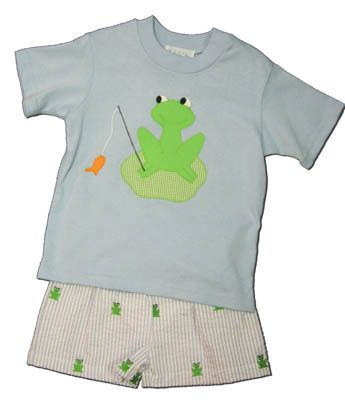 Funtasia Too Fishing Frog blue shirt with a frog on the front and blue striped seersucker swimtrunks with embroidered frogs. Super cute and matches the girls.
