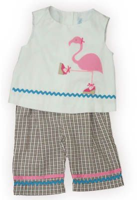 Funtasia Too Flamingo Island crop top set with a fashion queen flamingo on the front and matching brown checked capris. Fun to prance around in.