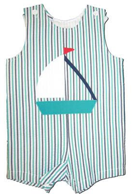 Funtasia Too Float Your Boat shortall with boat appliqued.