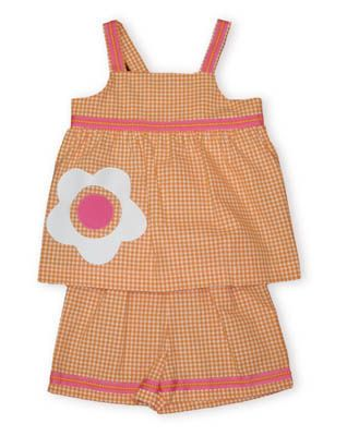 Funtasia Too Flowers are Fun orange and white checked swing top with appliqued flower and matching orange and white checked shorts with pink trim.