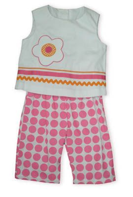 Funtasia Too Flowers are Fun white sleeveless shirt with ribbons and an appliqued flower. Comes with pink polka dot capris.