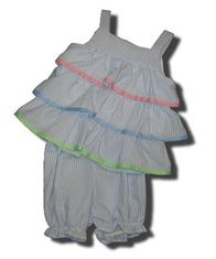 Funtasia Too Flutter By blue striped tiered popover with ribbons. Comfortable and cute.