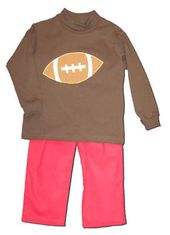 Funtasia Too Football Forever brown turtleneck with a football on the front and matching red corduroy pants. Super fun and festive for the football season.