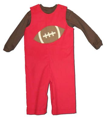 Funtasia Too Football Forever red corduroy longall with a football on the front and a brown turtleneck to accompany it. Super fun and festive for the football season.