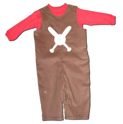Funtasia Too Foul Ball brown corduroy longalls with a baseball on the front and a red turtleneck to go with it. Very cute and comfortable.