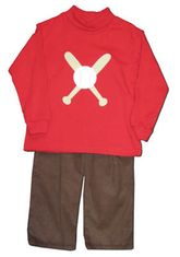 Funtasia Too Foul Ball red cotton turtleneck with a baseball on the front and matching brown corduroy pants. Very cute and comfortable.