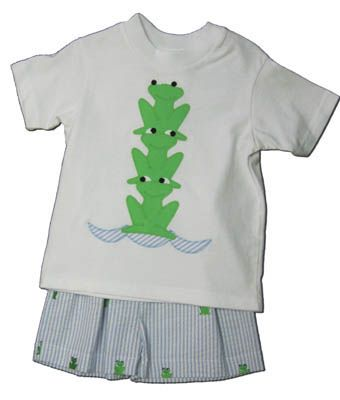 Funtasia Too Frogger short set with three frogs on the shirt and matching blue striped shorts with embroidered frogs. Super cute.