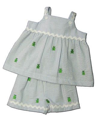 Funtasia Too Frogger swing top short set that is blue striped with embroidered frogs. Very cute and matches the boys.