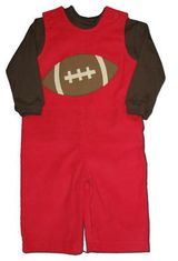 Funtasia Too Game Day red longall with a football appliqued on it. Turtleneck not included.