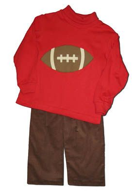 Funtasia Too Game Day red pant set with a football appliqued on it.