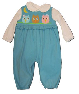 Funtasia Too girls baby clothes Owl Pal blue romper with three owls on the front and a white knit blouse. Comfortable, cute, and matches the boys.