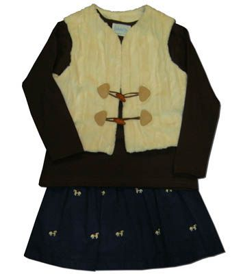 Funtasia Too girls clothes Hungry Horse brown shirt with a navy skirt with embroidered horses and a cream fur vest. Matches the boys and so fun for your horse lover.