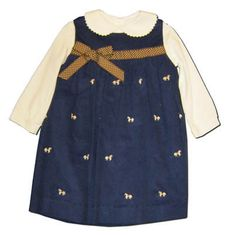 Funtasia Too girls clothes Hungry Horse navy yoke jumper with embroidered horses. Blouse included.