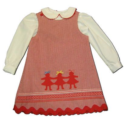 Funtasia Too girls clothes Village Dolls red and white checked jumper with three paper dolls appliqued and a matching blouse. Adorable and reverses to have a cupcake on it.