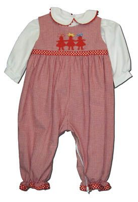 Funtasia Too girls clothes Village Dolls red and white checked romper with three paper dolls appliqued and a matching blouse. Adorable.